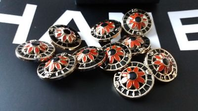 10 Buttons  Chanel  metal Red Black Gold size 20 mm