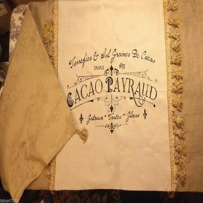 Custom Made Large French Country Script Linen And Burlap Table Runner
