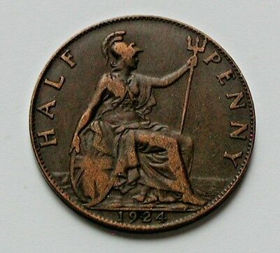 1924 UK (British) George V Coin - Half Penny (1/2d) - superior obverse details