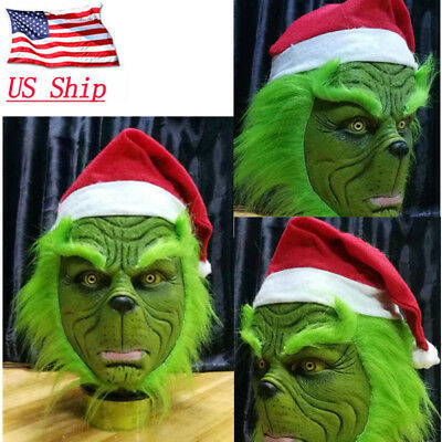 US! Grinch Stole Christmas Latex Mask With Long Hair Xmas Hat Helmet Xmas Props