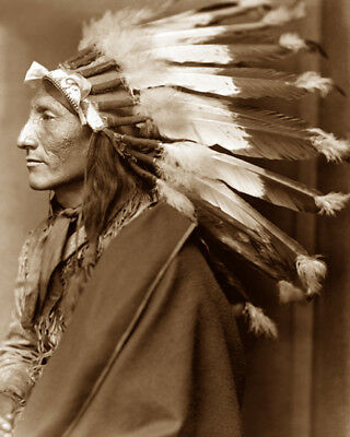 WHIRLING HORSE (profile) 1898 SIOUX NATIVE AMERICAN SEPIA PHOTO