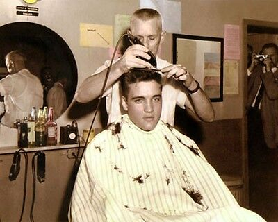 """ELVIS PRESLEY KING OF ROCK & ROLL ARMY HAIRCUT 8x10"""" HAND COLOR TINTED PHOTO"""