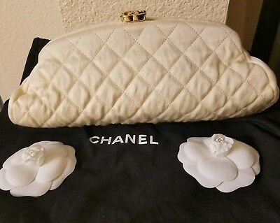 CHANEL Authentic Satin Timeless Clutch Bag Ivory  Quilted Gold Hardware