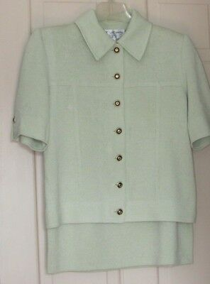 ST JOHN Collection by Marie Gray Frost Green Knit Skirt Suit  Sz 4 6