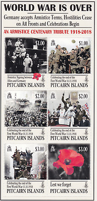 PITCAIRN ISLANDS - 2018 - 100th Anniv End of WWI. Sheet, 6v. Mint NH