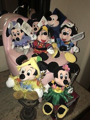 Lot 7 Disney Store Plush Toys Mickey Mouse, Minnie Mouse Original Tags Stuffed