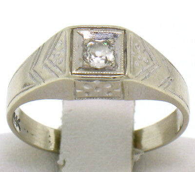 Vintage Petite Solid 14k White Gold Engraved Old Mine Cut Diamond Solitaire Ring