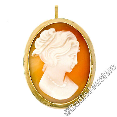 Antique Victorian Petite 18k Yellow Gold Carved Shell Cameo Pendant Brooch Pin