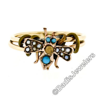 Antique Victorian 14K Gold Turquoise Seed Pearl Bee Fly Ring w/ Dual Wire Shank