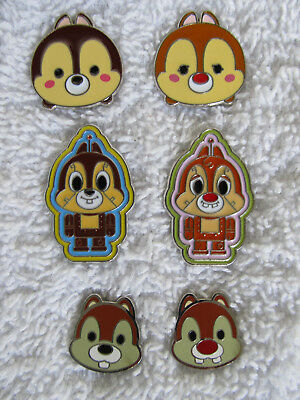 Disney CHIP & DALE  Lot of 6 Trader Pins  Tsum Tsum, Cutie Faces, & Toy Factory