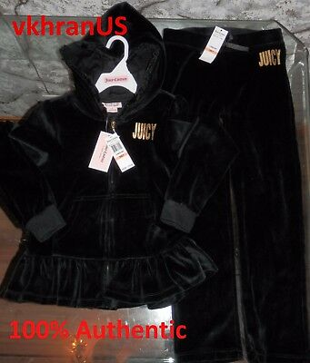 NWT JUICY COUTURE Big Girls 2pc Hoodie Pants Black Gold Velour Jog Set 7 years