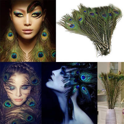 10Pcs Real Natural Peacock Tail Feathers Wedding Festival Party Home Room Decor