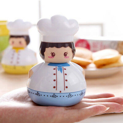Cartoon Chef Shaped Cooking Timer Plastic Machanical Timer 60min Kitchen Timer A