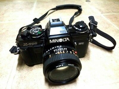 MINOLTA X-700 35mm Film Camera with Minolta MD 50mm 1:1.7 Lens+ Strap.Excellent