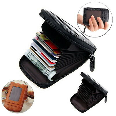 Men Womens Genuine Leather ID Credit Card Holder RFID Protector Wallet Card Case