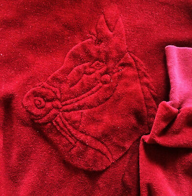 vintage 80s Women's Large Shirt RED embossed 3D HORSE velour velvet campus plush