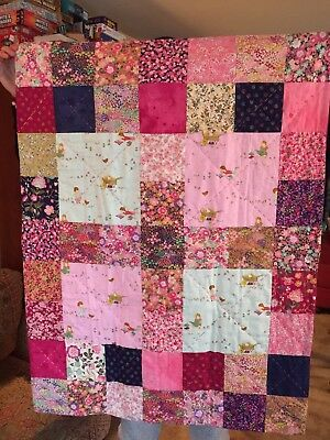 Handmade A Girls Life Baby Crib Quilt  (Purple Back )