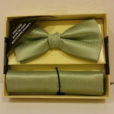 Light Green Banded Bow tie and Matching Hanky Set  )