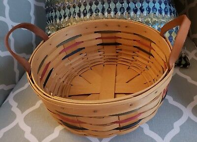 "Gently Used LONGABERGER 10"" WOVEN TRADITIONS DARNING BASKET Nice for holidays!"