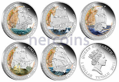 Ships that Changed the World 2011-2012 Tuvalu $1 Pure Silver Coins Full Set of 5