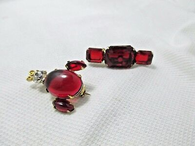 2 Vintage Ruby Red Lucite Pins/Brooches - Bar w/Rectangles - Insect Bug Bee