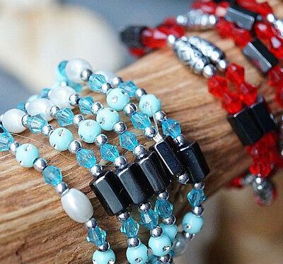 Bracelet Chain Wrapping 90 Cm Hematite Magnetic Silver Red Turquoise Glitter