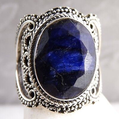 GRANULATED LACE Vintage Ring US 6.25 SILVERSARI 925 Stg Silver INDIAN SAPPHIRE