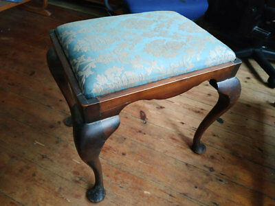 Vintage Antique footstool seat Wooden removable Tapestry cushion very old