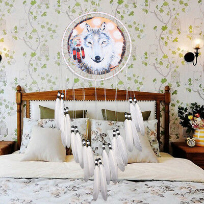 Handmade Dream Catcher Wolf With Feathers Home Hanging Decor Decor Craft USA
