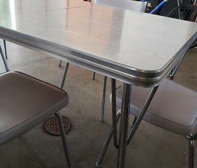 Vintage Chrome Table & Six Chairs Gray Formica/Tubular Chrome Mid-Century