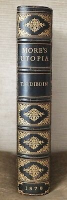 1878 UTOPIA THOMAS MORE RARE 1 OF 2 Reserved ANTIQUE LEATHER Binding SIGNED 1st