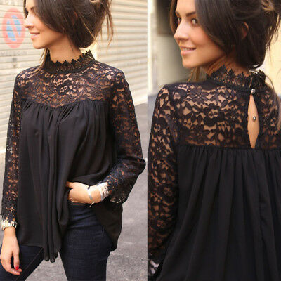 US Women Long Sleeve Pullover Lace Vest Tops Ladies Casual Loose T Shirts Blouse
