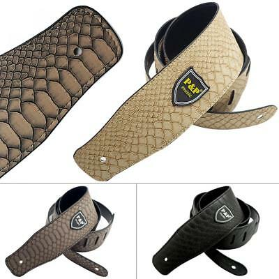 Adjustable PU Leather Guitar Strap with Python Skin Pattern for Guitar Bass