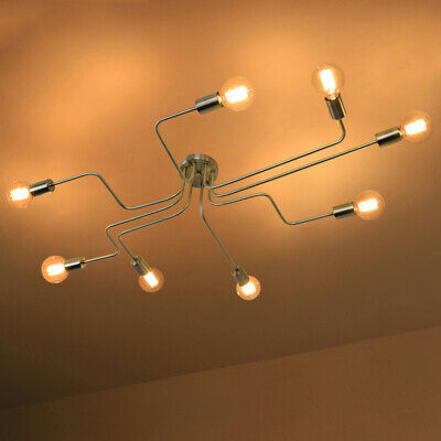 Vintage Industrial  Semi Flush Mount Ceiling Light Steampunk 8Light Pendant Lamp