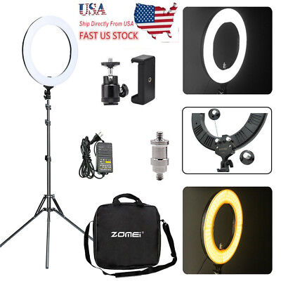 "LED 18"" 448Pc Ring Light Photography Dimmable Adapter Fill Flash Stand US Sel"