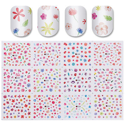 12Patterns Water Decal Nail Art Transfer Sticker Big Sheet Floral Manicure Tips