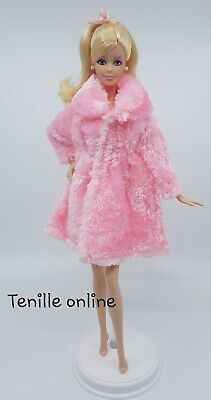 New Barbie clothes outfit jacket fur coat sweater jumper pink curvy