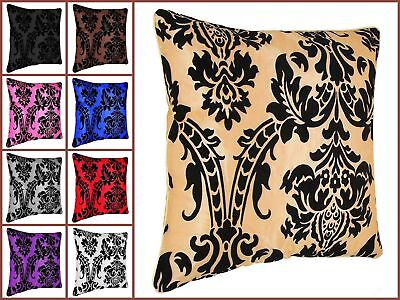 "4 X Luxury Damask Polyester Microfiber Flock Cushion Covers Or Pad 18""x18"""
