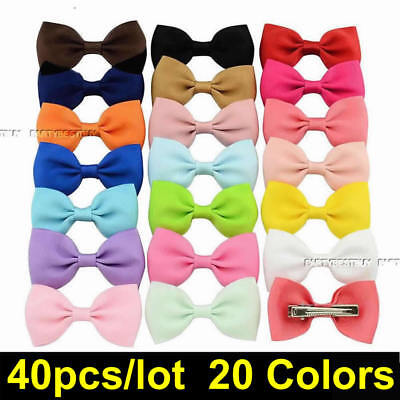 40PCS Handmade Girls Bow Hair Clip Alligator Clips Ribbon Kids Sides Boutique