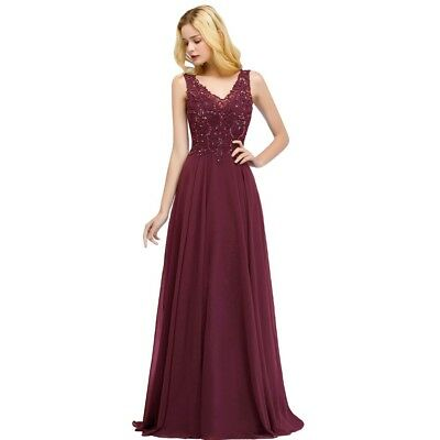 New Evening Formal Party Dress Prom Ball Gown Bridesmaid Beaded Applique