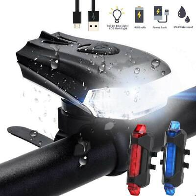 MTB Bike Bicycle Cycling USB Rechargeable LED Head Front Light Rear Taillamp set