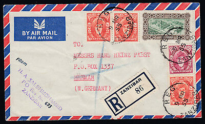Five Zanzibar stamps on 1955 Airmail Cover registered to Bremen Germany