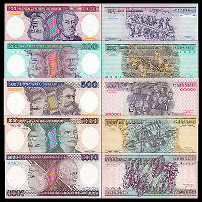 Brazil 100+200+500+1000+5000 Cruzeiros 1984-86 Set of 5PCS BrandNew Banknotes