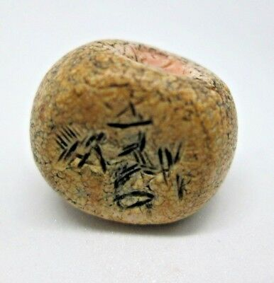 Antique Sea Shell Bead With Ancient Writing Middle East With Hole Bronze Age