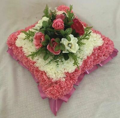 Artificial Silk Funeral Flower Cushion Tribute Memorial Wreath Pink Frame Edge
