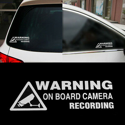 2pcs Vinyl Auto Car Window Sticker Warning On Board Camera Recording Decor
