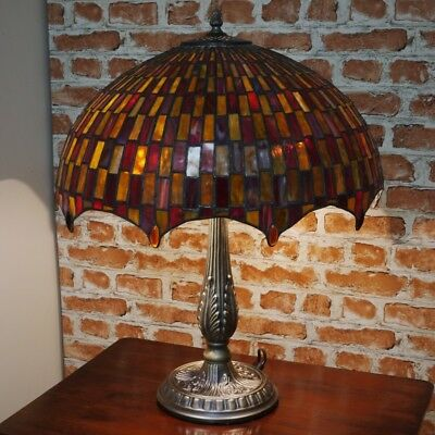 """New LARGE 18""""Diameter Tiffany Stained Glass Table Lamp Moroccan Mosaic Hand Made"""