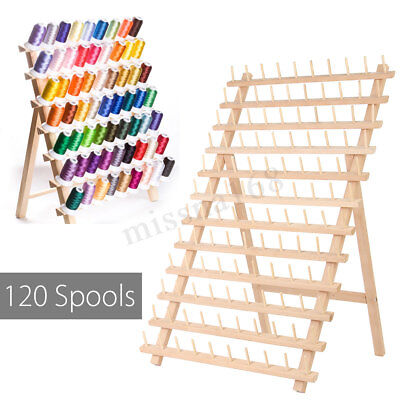 120 Bobines Porte Fil Stand Rack Stockage Support Mini Couture Broderie Bois