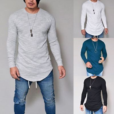 Mens Casual Long Sleeve Slim Fit Shirt Longline Muscle Tee Top Blouse T-Shirt AU