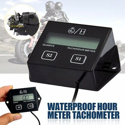1Pc Waterproof Digital Engine Tachometer Hour Meter Inductive For Motorcycl LCD